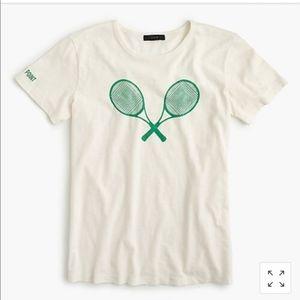 J Crew Tennis Racquets Tee - Medium - NWOT